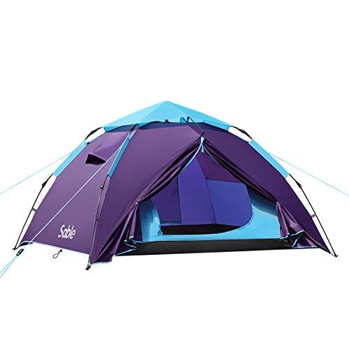Sable Tente Camping 3 à 4 Personnes, Tente Dôme Pop-up Imperméable pour Les Randonnée en Plein Air et sur la Plage, avec Installation Facile, Bleu 210 x 190 x 120 cm