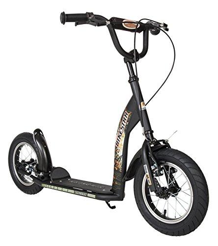 BIKESTAR Trottinette enfant 2 roues pour garcons et filles de 6-10 ans  Patinette enfant 12 pouces sportif  Noir