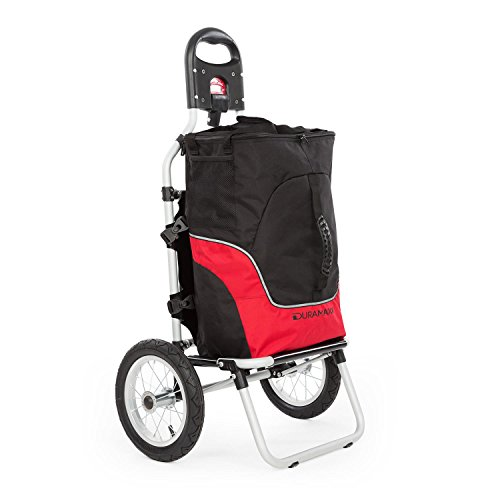 Duramaxx Carry Grey • Remorque pour vélo • Chariot Charge Max. 20kg • Sac de Transport Amovible • Tubes métalliques et Sac en Plastique • Transport Confortable • Noir & Rouge