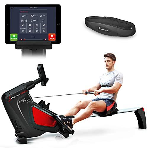 Sportstech Rameur RSX500 ergomètre air + Freins magnétiques, Ceinture Cardio optionnelle, Poids d'inertie 7 kg, Applications Fitness, 16 programmes d'entraînement, Pliable (RSX500)