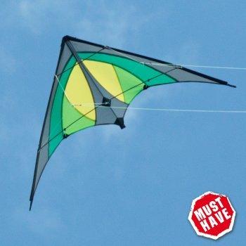 Cerf-volant acrobatique CIM - SHURIKEN Green Jungle MUSTHAVE - pour enfants à partir de 8 ans - 120 x 60 cm - inclus lignes sur bobines