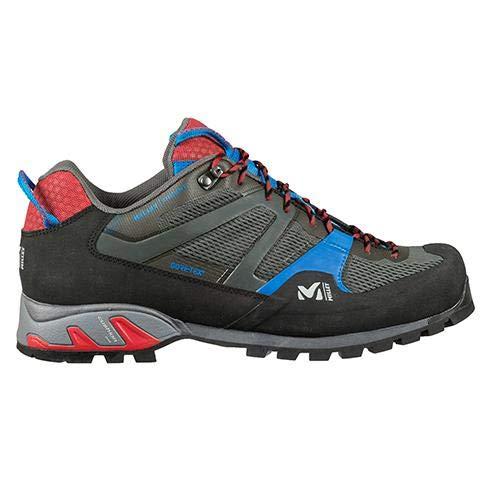 Millet - Trident GTX M - Chaussures Basses pour Randonnée, Alpinisme et Approche - Homme - Membrane Gore-Tex Imperméable Respirante - Semelle Vibram - Gris/Rouge/Bleu - 44 EU