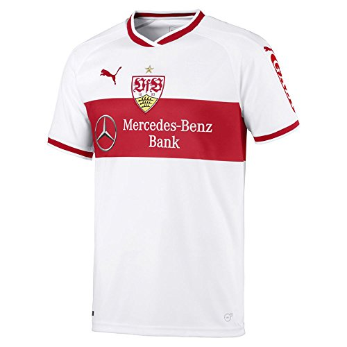 Puma VfB Stuttgart Home Original Shirt Jr w/o Sponsor Logo Maillot Garçon, White-Ribbon Red, FR Unique (Taille Fabricant : 152)