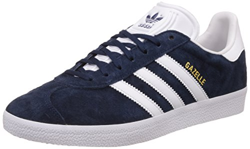 adidas Gazelle, Sneakers basses mixte adulte, Bleu (Collegiate Navy/White/Gold Met), 43 1/3 EU