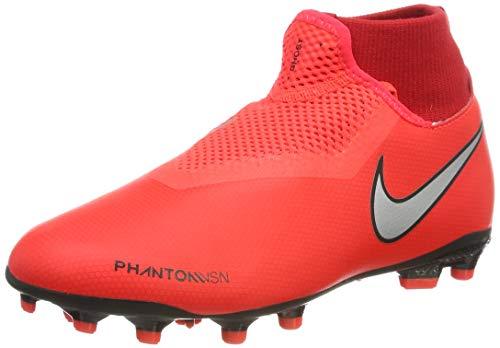 Nike Jr Phntom Vsn Academy DF FG/MG, Chaussures de Football Mixte Enfant, Multicolore (Bright Crimson/Metallic Silver 600), 36.5 EU