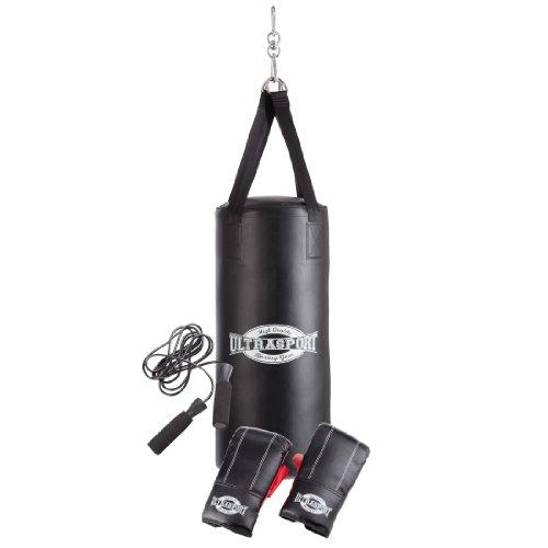 Ultrasport gamme Boxing Gear - kit de boxe:sac de frappe plein en vinyle 70 x 30 cm, gants de boxe 8 oz et corde à sauter inclus