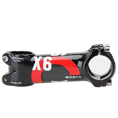 Bikeco Potence de vélo en fibre de carbone 3K brillant ultra léger pour guidon de VTT/vélo de route, 31,8 x 80/90/100/110 mm, Red