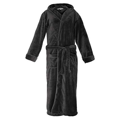 Lumaland peignoir de luxe en microfibre avec capuche pour femme et homme différentes tailles et couleurs gris L
