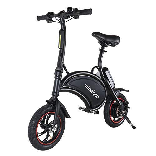 BEBK Vélo Électrique de Ville Pliant, Vitesse Réglable Noir Bike, Jusqu'à 30 km/h, 12 pouces Roues, Batterie au lithium LG 36V/4.4Ah, Adulte Unisexe