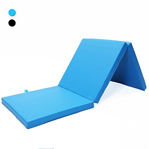 ISE Tapis de Sol Pliable Tapis de Gymnastique Pliable Tapis de Sol 180 x 60 x 5 cm, Matelas de Gym Épais et Pliable pour la Maison Bleu SY3003-BL