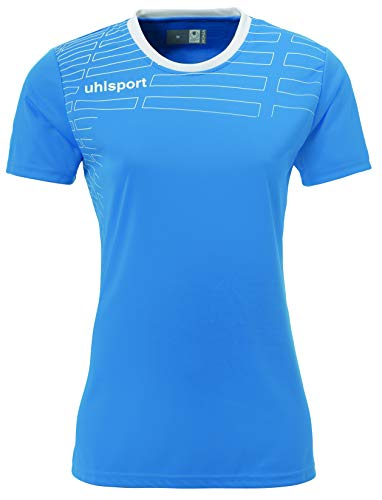 uhlsport Match Team Kit MC Femme Ensemble Maillot + Short de Foot, Cyan/Blanc, FR : M (Taille Fabricant : M)