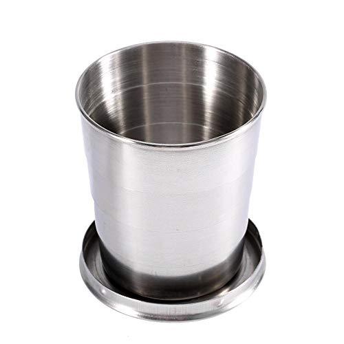 Haofy Taille 240ML / 140ML / 75ML3 facultative Toute la Tasse Se Pliante de Tasse télescopique d'acier Inoxydable, Tasse Se Pliante de Verre à vin de Porte-clés(L)