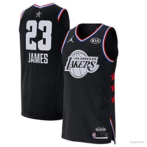 Lalagofe Lebron James Nero, All Star Game 2019 Basket Canotta Maglia Jersey Los Angeles Lakers #23, City Edition, Un Nuovo Tessuto Ricamato, Stile di Abbigliamento Sportivo (M)