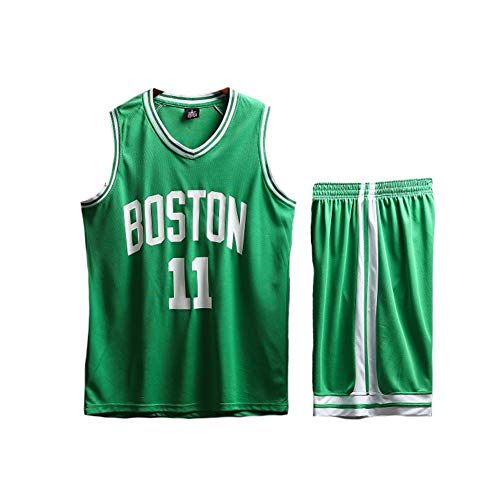 PAOFU-Ensemble de Maillot de Basket Adulte NBA Celtics Irving 11# Gilet et Short de Basket-Ball Respirants pour Hommes Femmes,Vert,L