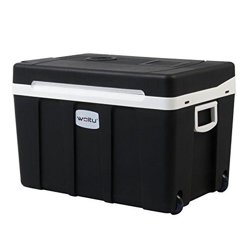 WOLTU KUE003sz Glacière électrique Mini Réfrigérateur 50L Isotherme Chaud/Froid, 12V et 230V pour Voiture et Camping [Classe énergétique A +++],Noir