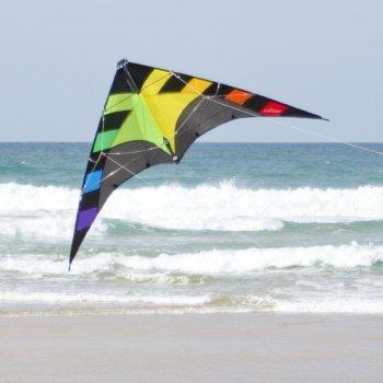 Cerf-volant acrobatique - SPIDER rainbow - pour enfants à partir de 6 ans - Dimensions : 145x78cm - incl. Ligne sur poignée avec sangles