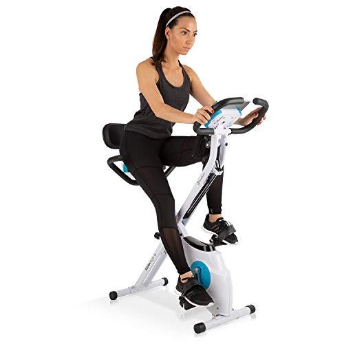 Klarfit Azura Plus Vélo d'exercice 3-en-1 • Fitness Bike • Cardio Training • Entraînement par Courroie • Pulsomètre • 8 Niveaux de résistance magnétique • Blanc