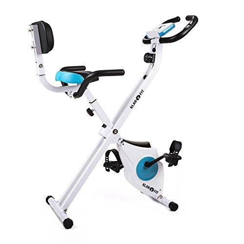 Klarfit Azura Pro • Ergomètre • Home-trainer • Vélo fitness • Vélo cardio • Ordinateur d'entraînement • Pulsomètre • 8 niveaux de résistance réglables • Force d'inertie: 3kg • Max. 100kg • Blanc-bleu