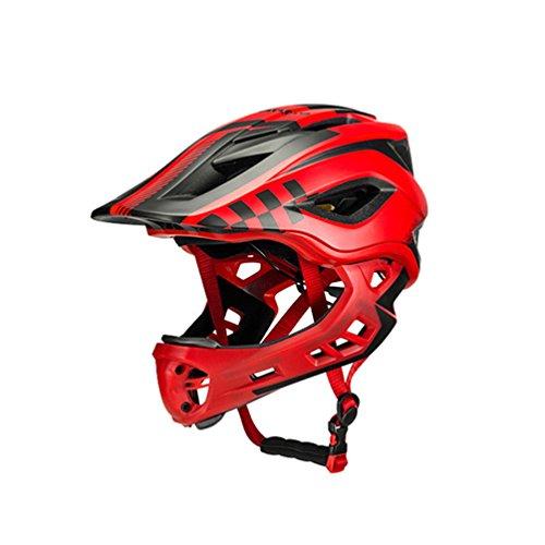 ROCKBROS Casque Vélo Enfant Casque de Intégral Casque Complet de BMX Anti-Choc Ajustable Amovible - Rouge (53-58cm)