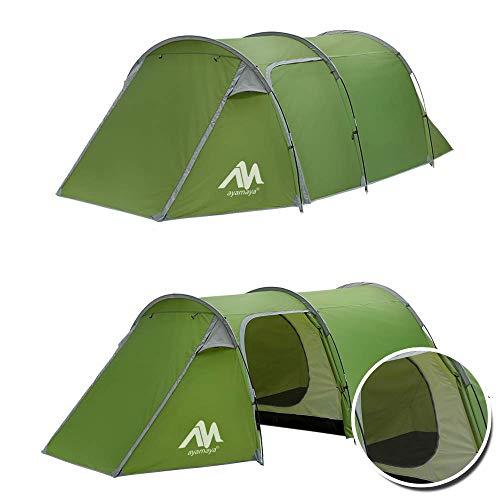 Tente Tunnel familiale pour Camping - 3 Personnes 2 pièces Ultra légère avec Gilet Avant, imperméable Double Couche Classique 4 Saisons, Installation Facile pour Les Sports de Plein air