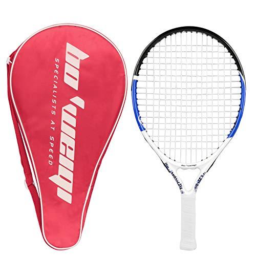 Raquette de Tennis Junior, Cadre en Aluminium de Carbone de 19,7 inch Raquette de Tennis pour Enfants avec Sac de Rangement