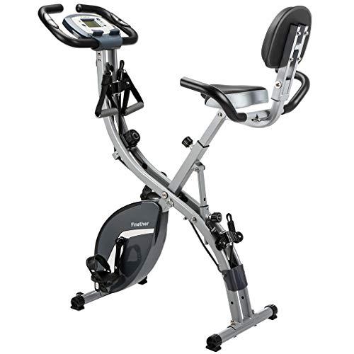 Finether Vélo d'Appartement Vélo d'exercice Pliant Magnétique Bike Vélo de Fitness Écran LCD, Capteur de Pouls, 8 Niveaux de Résistance, Siège Réglable avec Bandes de Résistance Capacité 100Kg