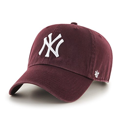 47 Brand Casquette Clean Up New York Yankees Bordeaux Ajustable