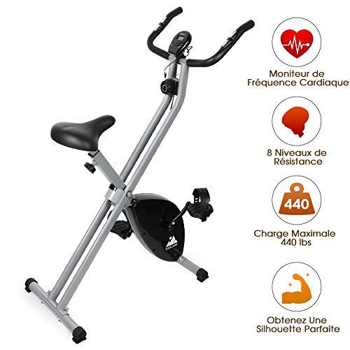 EVOLAND Vélo d'Appartement Pliable, Exercice Bike avec 8 Niveaux de Résistance, Siège Réglable, Affichage LCD, Vélo d'Intérieur Cardio-Training pour Adulte, 200Kg Capacité