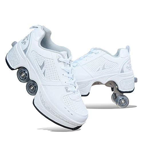 Décontractée des Chaussures Baskets Marche Sneaker + Patins Déformer Roue Patins pour Adulte Hommes Femmes Unisexe Couple Childred Fuyez Patins À Quatre Roues,39