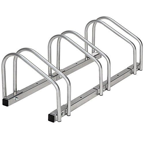 TecTake Râtelier range-vélo pour vélos | en acier revêtu - diverses modèles - (pour 3 Vélos | no. 402377)