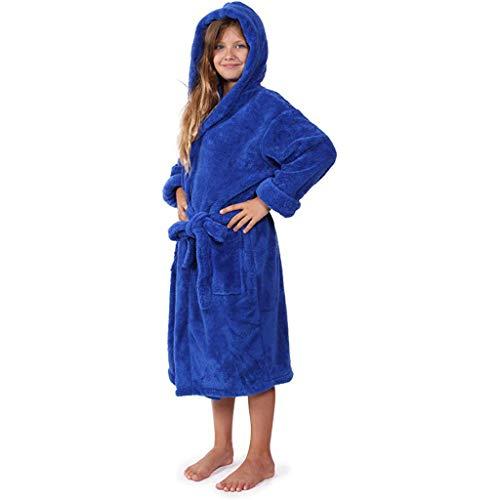 Susenstone Peignoir Enfant Polaire Fille Garcon Hiver Chaude Peignoir à Capuche Ado Fille Robe De Chambre Doux ÉPonge Pyjama Polaire 3-12 Ans (6-8 Ans, Bleu)