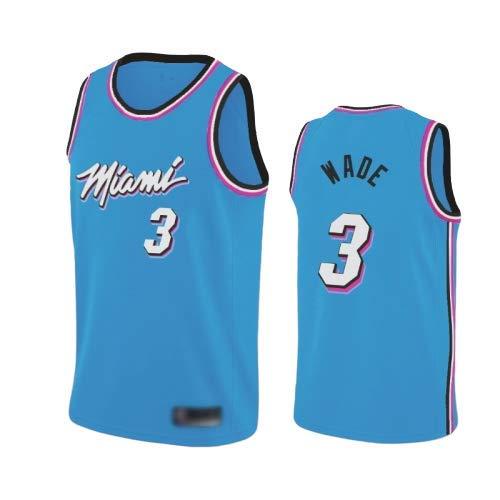 WOLFIRE WF Maillot de Basketball pour Hommes, NBA, Miami Heat # 3, Dwyane Wade. T-Shirt pour Ventilateurs brodé, Respirant et résistant à l'usure (Bleu, S)