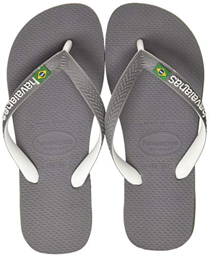 Havaianas Brasil Mix, Tongs Mixte, Multicolore (Steel Grey/White/White), 43/44 EU