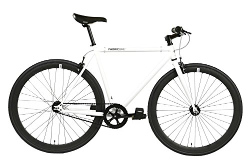 FabricBike - Vélo Fixie, Fixed Gear, Single Speed, Cadre Hi-Ten Acier, 10Kg (Space White & Black, M-53)