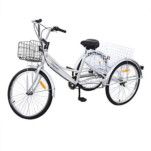 Yonntech 24' Tricycle Adulte 7 Vitesses Gears vélo Femme/vélo Homme vélo de Ville vélo Hollandais Panier Inclus (Argent)