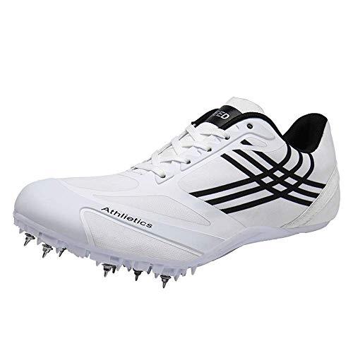 OUCB Chaussures Hommes Athlétisme, Spikes Unisexe Chaussure Légère Athlétisme Sprint Courir Chaussure D'entraînement Respirant Concours Sportif Dédié Sneaker,Blanc,39