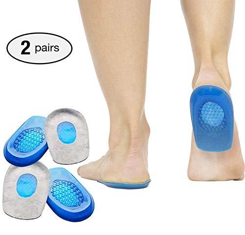 2 paires de coussinets pour talon gel, coussinets en silicone pour coupe-talon pour la fasciite plantaire, douleur au talon et achille, coupelles et coussins pour talon gel support absorbant