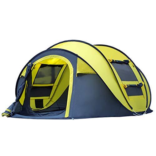 Qisan Pop Up Tente Tentes Instantanées pour Camping 4 Personnes Secondes Pop Up Ouverture Rapide Camping Randonnée Tente aavec Sac de Transport Facile à Installer