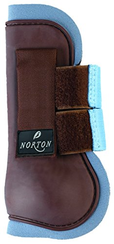 NORTON Guêtres Ouvertes PVC - Marron Chocolat / Bleu Ciel - Poney