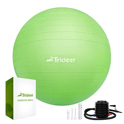 Trideer 45 cm à 85 cm Ballon Suisse de Gym avec Pompe, 500KG Anti-Eclatement/différentes Couleurs Ballon de Gymnastique (Vert, 65cm)