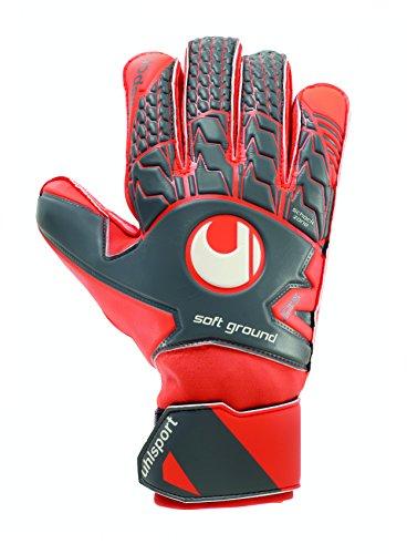 UHLSPORT - AERORED SOFT PRO - Gant gardien football - Paume Latex Soft - Coupe Classique - gris foncé/rouge fluo/blanc