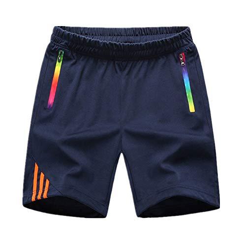 Manluodanni Homme Pantalon Court Décontracté Short et Bermuda Sport Jogging Casual Slim Fit Multi Poches 2Bleu M
