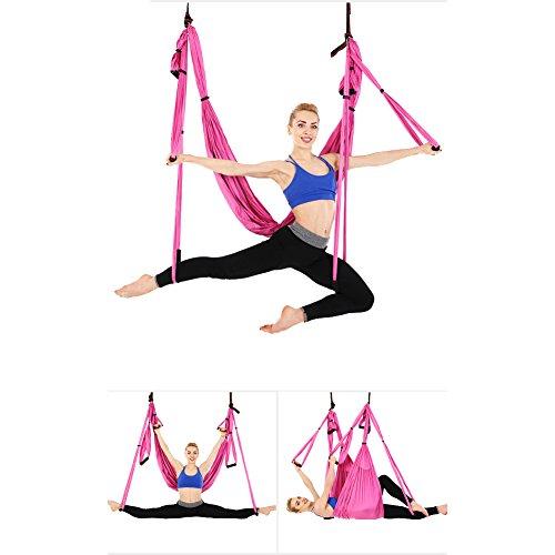 Ensemble de hamac de yoga aérien - Antigravité - Exercices inversés, rose