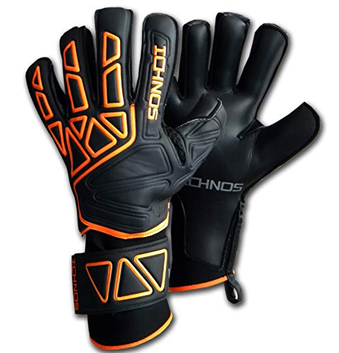 Ichnos Vertex Gants de Gardien de But Football avec Barrettes Amovibles Noir Orange (9)