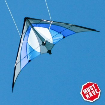 CIM Cerf-volant acrobatique - SHURIKEN Blue Sky MUSTHAVE - pour enfants à partir de 8 ans - 120 x 60 cm - inclus lignes sur bobines
