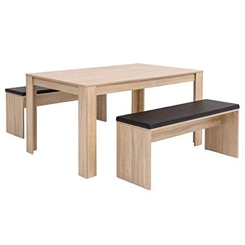 Wohnling WL5.927 Ensemble de Table à Manger en chêne Sonoma avec 2 bancs en Bois Moderne | Salon de Table de Cuisine Petit | Ensemble Complet | Table à Manger 3 pièces Peu encombrantes