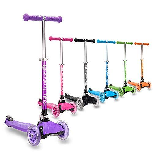 3StyleScooters RGS-1 (Petite) Trottinette à 3 Roues pour Enfant - idéale pour Les Enfants âgés de 3 Ans et Plus - avec Roues à lumières LED, modèle Pliable et poignées réglables (Violet)