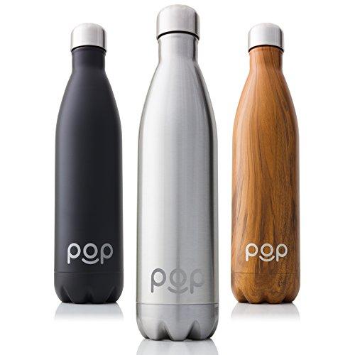 POP Bouteille d'eau Isotherme de Design, Garde Froid 24h ou Chaud 12h, Isolant sous Vide en Acier Inoxydable, Anti-Condensation et Anti-Fuites, Goulot Étroit et sans BPA, 740 ML, Titanium