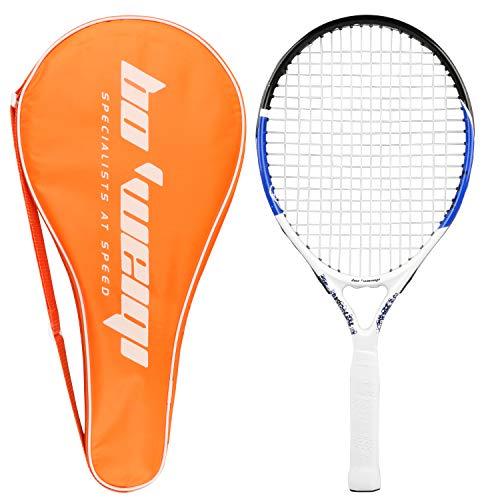 Raquette de tennis junior, cadre en aluminium de carbone de 21.6 Inch Raquette de tennis pour enfants avec sac de rangement, idéal pour les enfants Enfants Entraînement sportif pour filles et garçons (55cm)