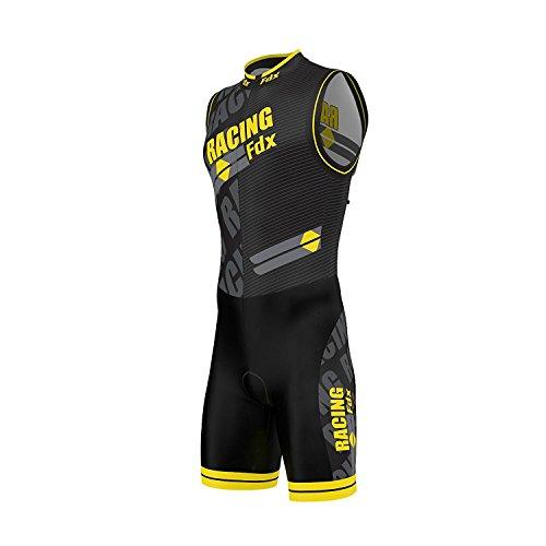 FDX Sublimation - Combinaison de triathlon rembourrée pour homme (cyclisme, course à pied, natation), jaune, moyen